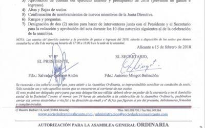Orden del día asamblea general