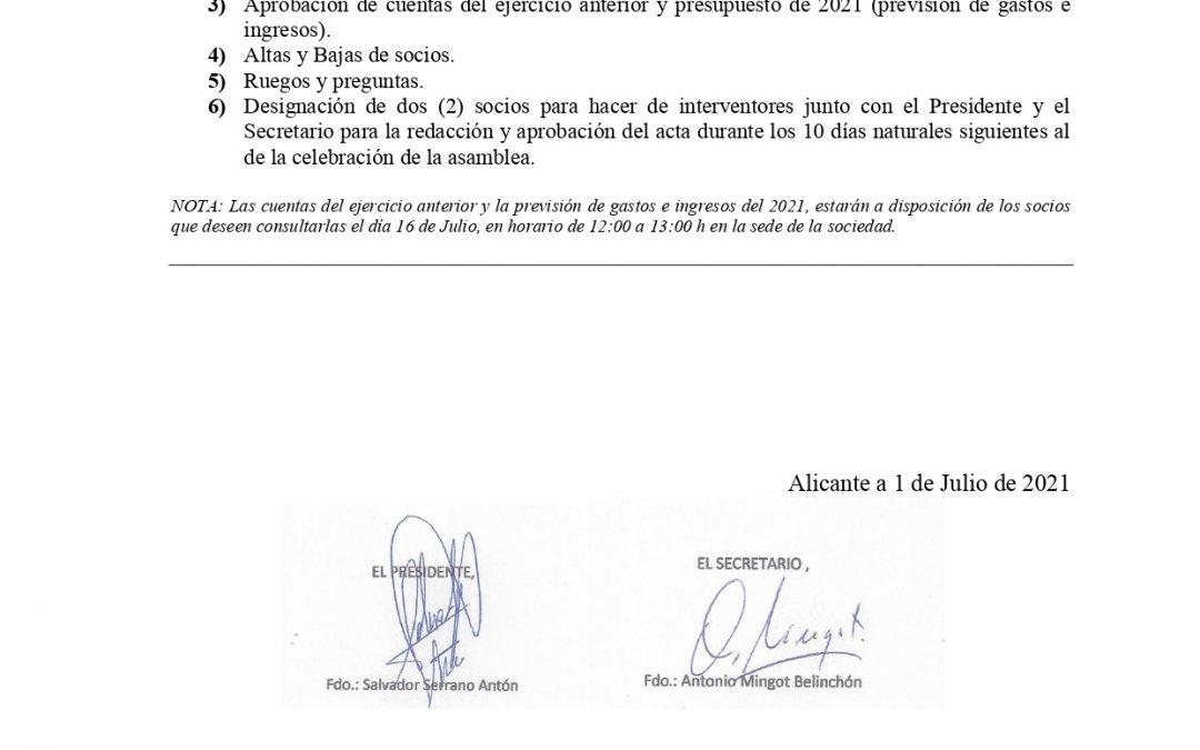 Asamblea 2021 ** SUSPENDIDA**